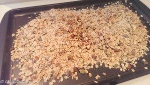 Granola on baking tray