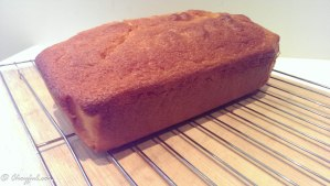 Lemon pound cake on rack