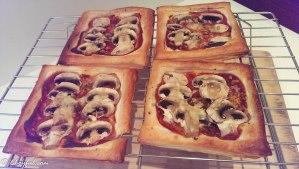 wire rack mushroom puff pastry tart