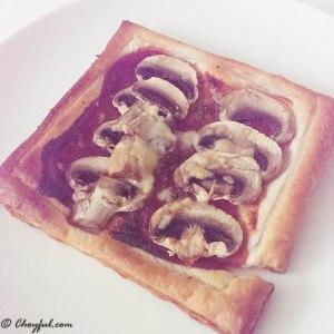 Mushroom puff pastry tart