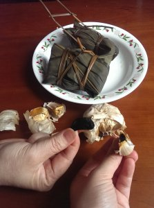 Asian glutenous rice ball black garlic