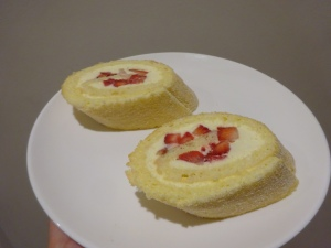 Swiss roll - the best I've ever had, it was so SOFT :D.... the running joke at school was that my Chef is of Swiss Origin and she had to make a Swiss Roll :P - a Swiss making Swiss roll